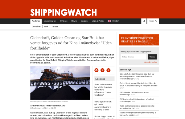 Oceanbolt is featured in ShippingWatch