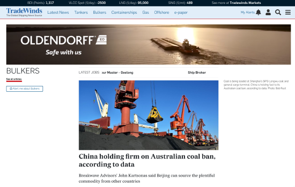 TradeWinds sheds light on Chinese trade war with Oceanbolt data